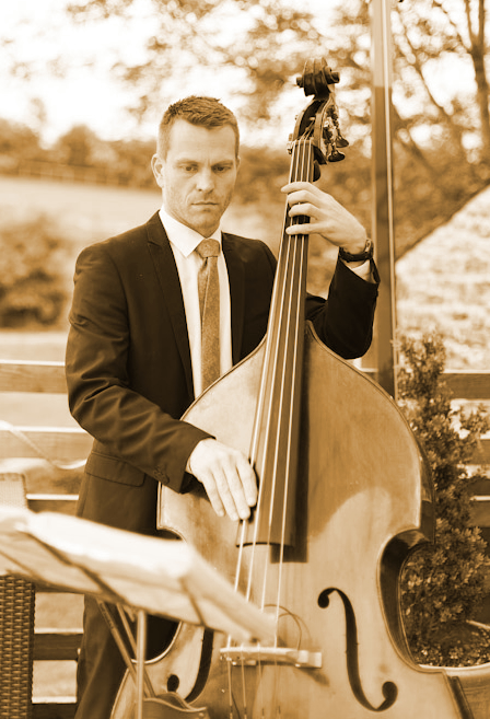 Photo:  The Hipcats jazz trio - double bass for jazz and swing at Wick Farm, Bath, Wiltshire.